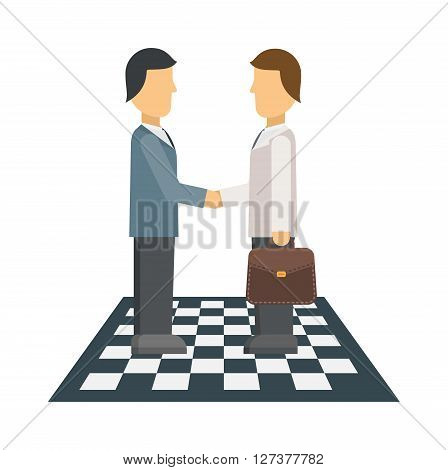 Business people shaking hands, finishing up meeting, office teamwork group corporate male vector. Professional conference business meeting and occupation strategy business meeting.