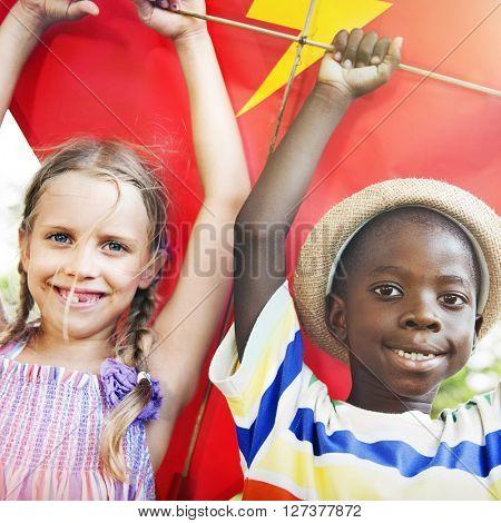Children Friendship Togetherness Flying Kite Playful Concept