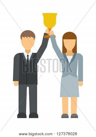 Business winners people group silhouette excited hold hands up raised arms with gold award vector. Business woman concept winner success vector Illustration. Business winners achievement people.