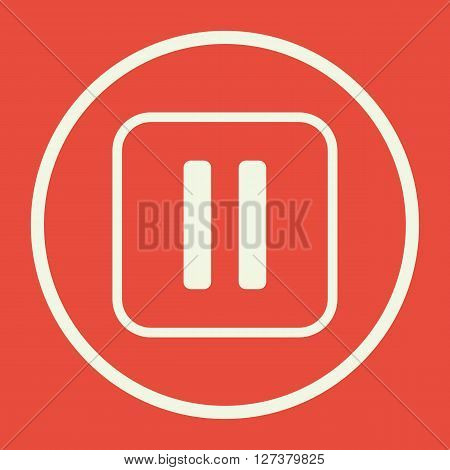 Music Pause Icon In Vector Format. Premium Quality Music Pause. Web Graphic Music Pause Sign On Red