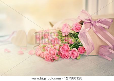 Beautiful romantic composition with flowers. St. Valentines Day concept
