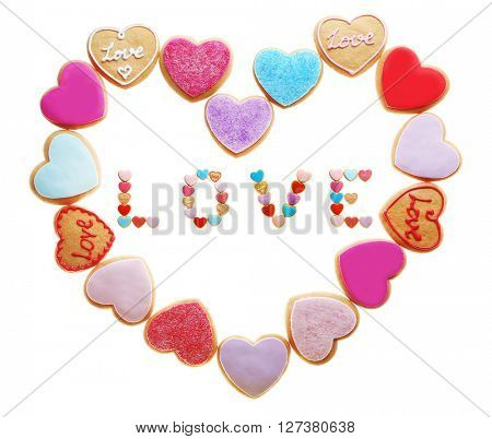 Cookies inscription Love and heart, isolated on white