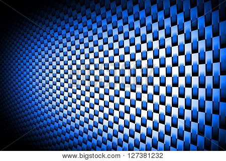 blue curve carbon fiber on the black shadow. car accessories. background and texture.