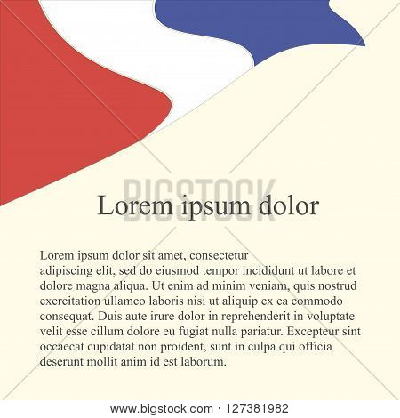France flag background. Red, white, yellow, blue flag on light pink background, grey Lorem ipsum, vector