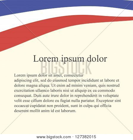 Dutch flag background. Red, white, blue flag on light pink background, grey Lorem ipsum, vector