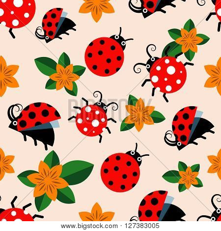 Vector seamless pattern with ladybugs or ladybirds and flowers. Flowers and ladybugs seamless background