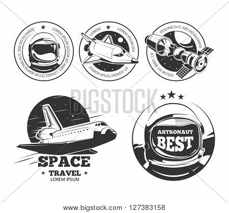 Astronautics logo set.  Rocket space labels, astronaut badges and space travel emblems