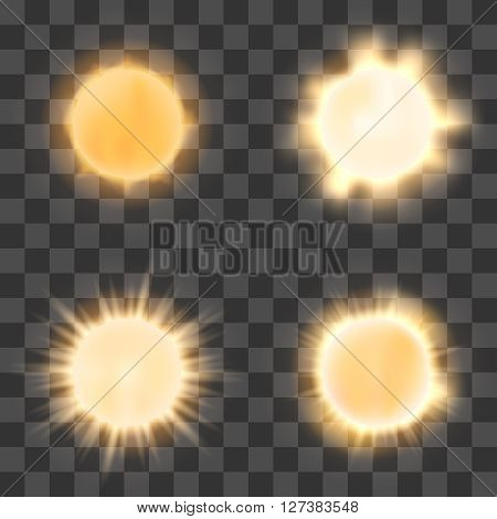 Realistic sun on transparent background. Vector sun shine or bright sun icons on checkered background