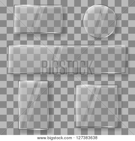 Transparent vector glass plates banners on plaid background. Glass banners panels or glass frames on transparent background vector illustration