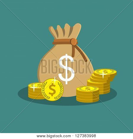 Money saving and money bag icon design, bag with dollars money on pile of golden coins.  vector illustration in flat design