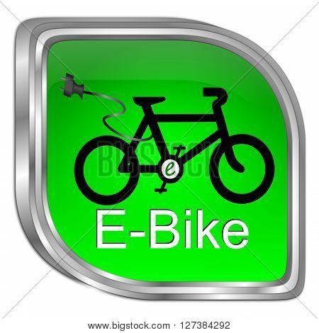 decorative green E-Bike Button - 3D illustration
