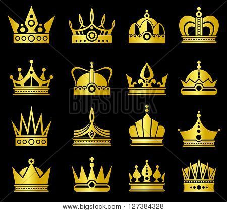 Gold crown vector set. Luxury gold and king crowns, classic royal crown set vector illustration