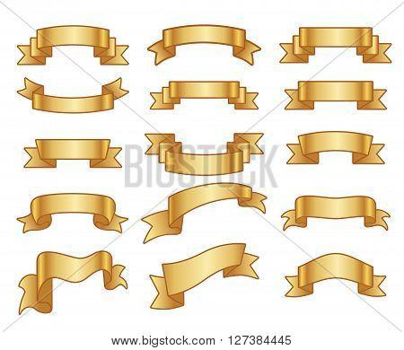 Gold ribbon banners. Gold ribbon decoration and ribbon banner set vector