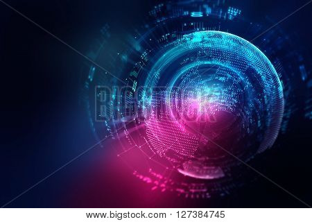 Blue Geometric Circular Shape Abstract Technology Background