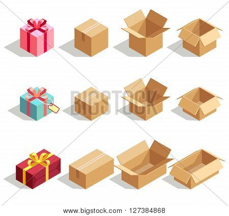 Cardboard and gift boxes opened and closed. 3D isometric vector icons for delivery infographics. Cardboard box, gift box and package carton box vector illustration