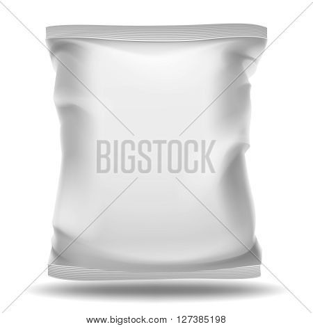 White blank bag package. Vector mockup. Food pack, product pack or bag container, plastic pack snack illustration