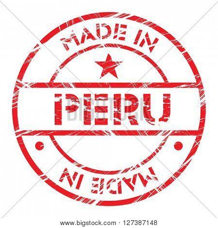 Made in Peru grunge rubber stamp