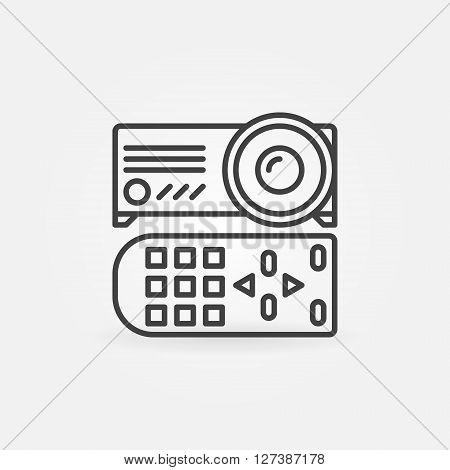 Projector linear icon - vector thin line projector with remote control symbol or sign