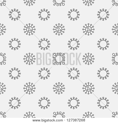 Virus or bacterium seamless pattern - vector simple medical texture made with thin line bacteria signs