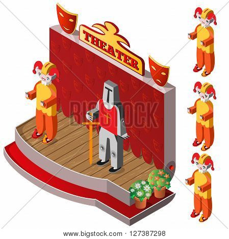 Jester and king on theater stage. Jester with different facial expressions. Isometric icon set. Vector illustration.