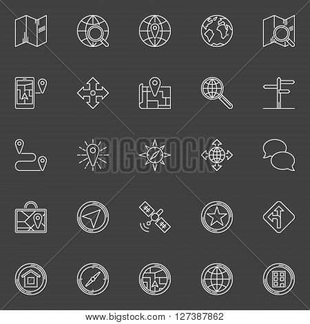 Navigation line icons - vector set of navigation or location symbols. Linear geolocation signs on dark background