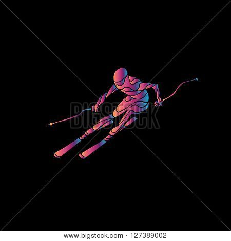Ski downhill. Creative silhouette of the skier. Giant Slalom Ski Racer. Color illustration on black background