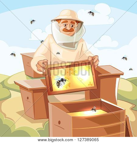 Apiary vector illustrations. Apiary background picture with bee, honey, honeycomb and Man beekeeper in special costume.