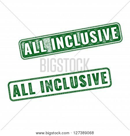 Set of green realistic vector ALL Inclusive grunge rubber stamp isolated on white background.