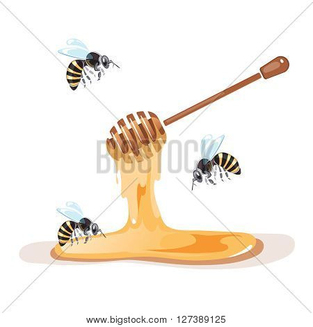 Apiary vector illustrations. Apiary pictures set with bee and honey. Apiary symbols isolate on white background