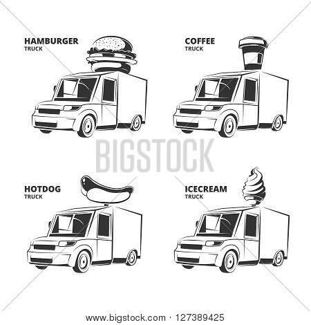 ice cream, hamburger, hot dog, coffee trucks. Vintage vector monochrome pictures set for emblems, labels, badges