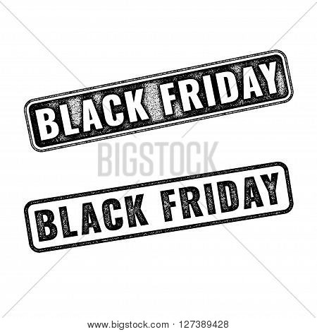 Two realistic vector Black Friday stamps isolated on white background. Set of black imprints announcement of annual fair