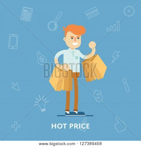 Sale banner concept. People enjoyed sales. Shopping time. Discount offer. Special offer banner. Overstock lots. Sale elements. Сlearance sale. Sale time vector illustration. Discount banner. Sale offer illustration. Banner for website or graphic material.