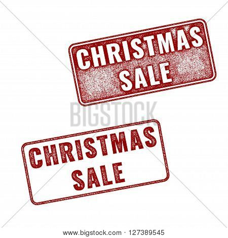 Two red realistic vector Christmas sale stamps isolated on white background. Set of red imprints of announcement annual fair