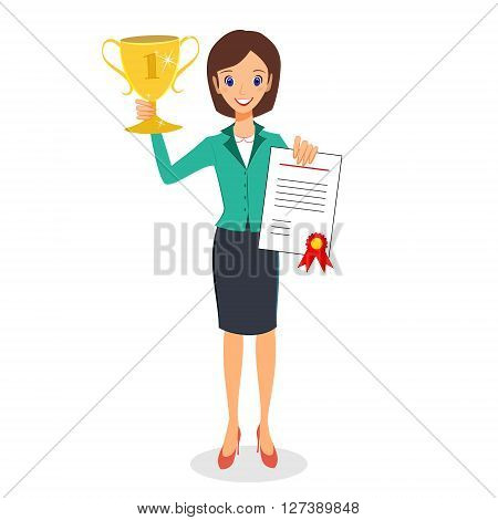 Businesswoman concept winner success. Business woman character vector. Excited smiling cartoon female raising trophy prize and certificate. Isolated on white background