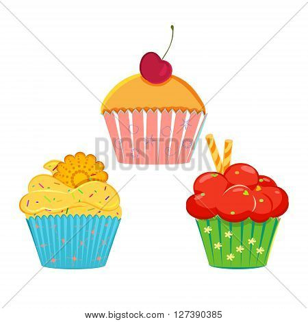 Set of vector cupcakes, muffins with different toppings and decorations. Different cupcakes collection isolated on white. Great as web icons, design elements or labels, wrapping paper