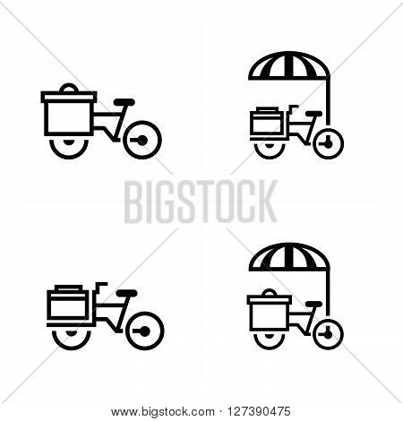 Mobile food bicycle icons support vector design eps 10.