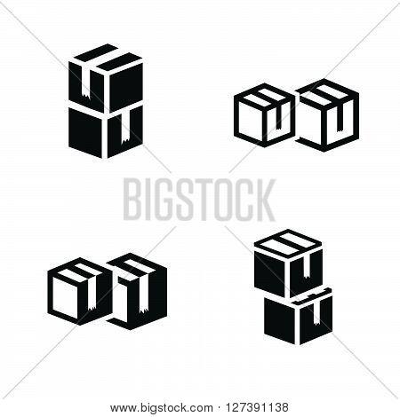 vectors box interlace icons set, support Vectors design eps10.