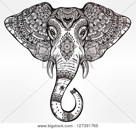 Vintage ornate vector ethnic elephant with tribal ornaments. Ideal ethnic background, tattoo art, yoga, African, Indian, Thai, spirituality, boho design. Use for print, posters, t-shirts and textiles.