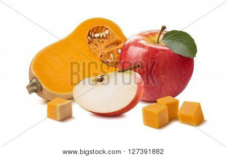 Butternut pumpkin apple pieces isolated on white background as package design element