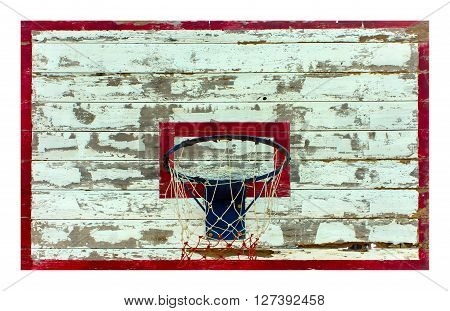 basketball hoop Old outdoor isolated background white.