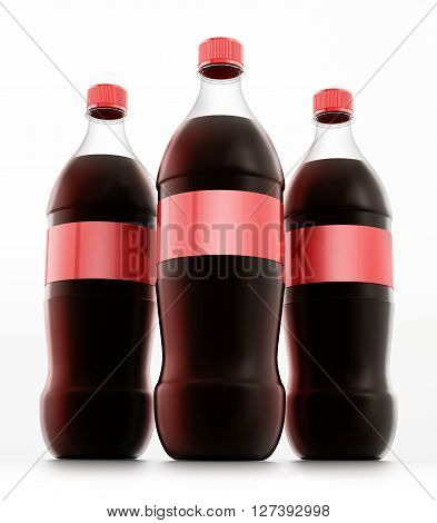 Soda bottles with red label isolated on white background.