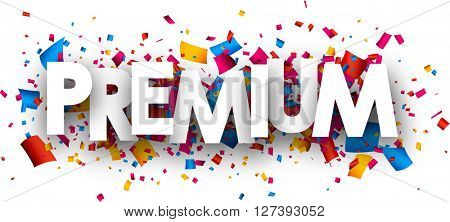 Premium paper banner with color confetti. Vector illustration.