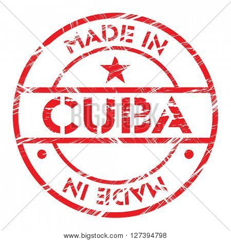 Made in Cuba grunge rubber stamp