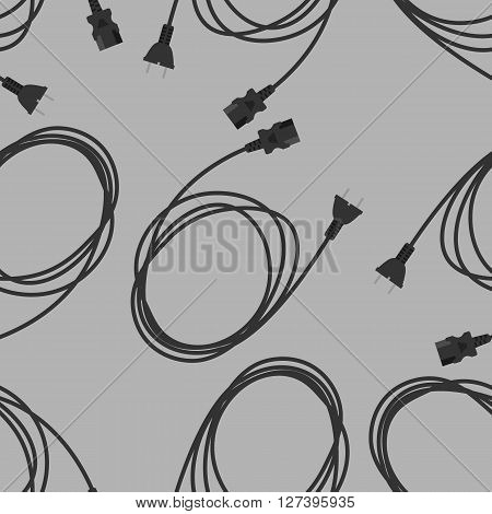 Seamless technology vector pattern, PC power cable