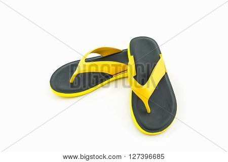 Colorful of Sandals shoes Yellow and black flip flops on white background.