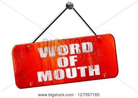 word of mouth, 3D rendering, red grunge vintage sign