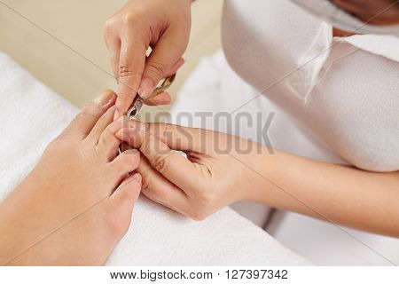 Master cutting toenails of female customer in beauty salon