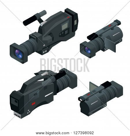 Professional digital video camera set. Film lens. Flat 3d isometric illustration