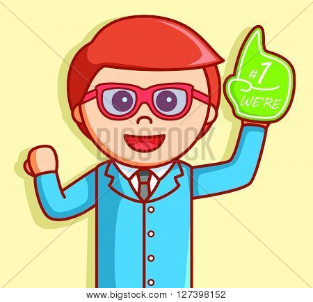Business man with number one hand .EPS10 editable vector illustration design