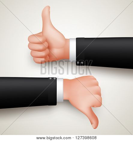 Like and Unlike Hand Gesture or Thumbs Up and Thumbs Down Hands of Professional Man in 3D Realistic Vector Illustration